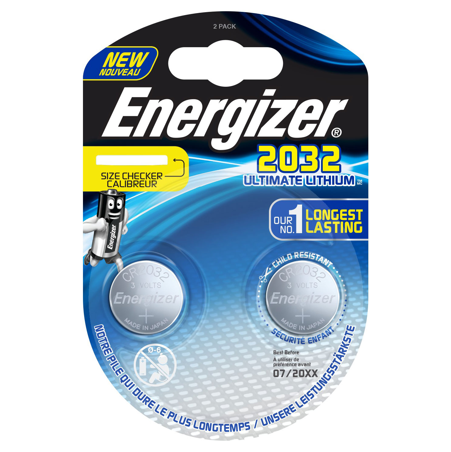 Energizer Ultimate Lithium button CR2032, 2-pc blister